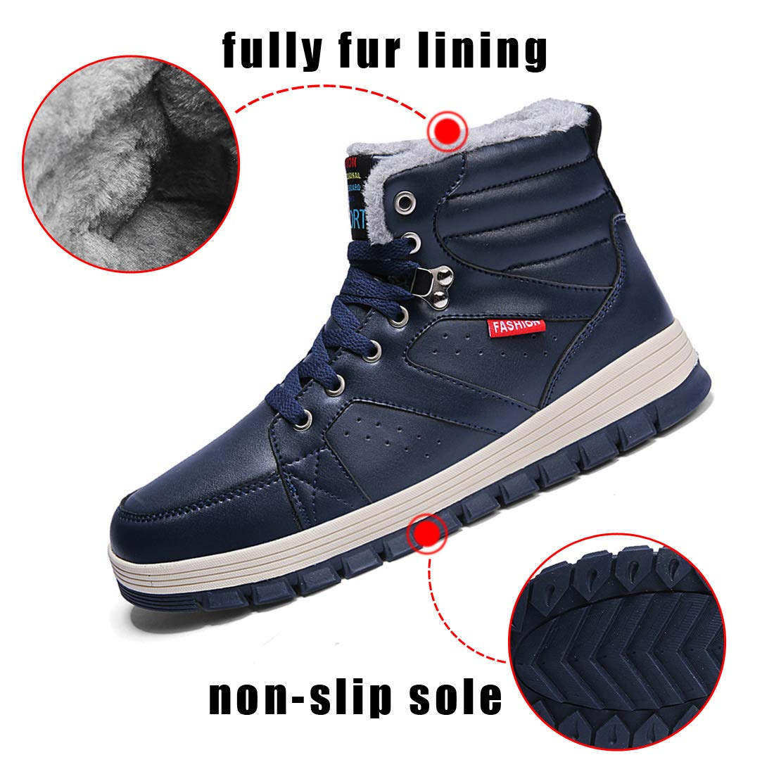 Ceyue Mens Leather Snow Boots Lace up Ankle Sneakers High Top Winter Warm Walking Shoes with Fur Lining(Blue 43) by Ceyue (Image #3)