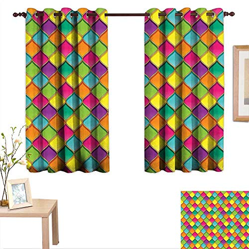 - Luckyee Geometric Thermal Insulating Blackout Curtain Vivid Colored Stained Glass Style Pattern Wavy Lines Curves Oval Shapes Modern 63