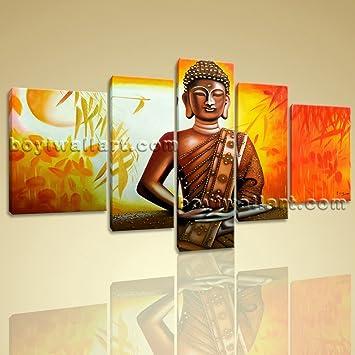 Amazon.com: Huge Abstract Feng Shui Painting Print Buddha Bamboo ...