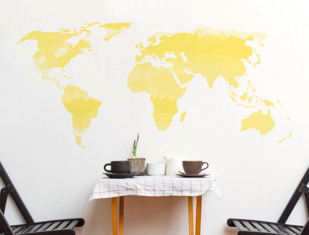 Pegatina de pared Salón Mapa del Mundo Acuarela en un amarillo ...