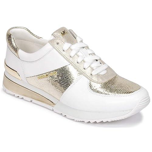 Michael by Michael Kors Zapatos Allie Zapatillas Blanco y Metalico de Cuero Mujer 36 Blanco: Amazon.es: Zapatos y complementos