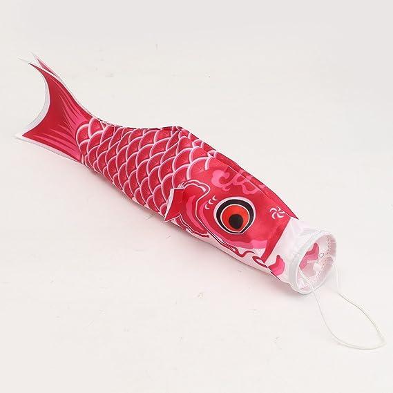 Changlesu 40cm Koi Nobori Japanese Style Colorful Carp Wind Sock Koinobori Fish Anime Fish Flags Kite Flag Hanging Decor Black