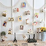 Gorse Photo Hanging Display Fishnet Wall Decor Decorative Picture Frame DIY Includes Picture Hanging Wire Twine Cords, 6 Random Pendant, 10 Nails and 30 Clothespin Clips