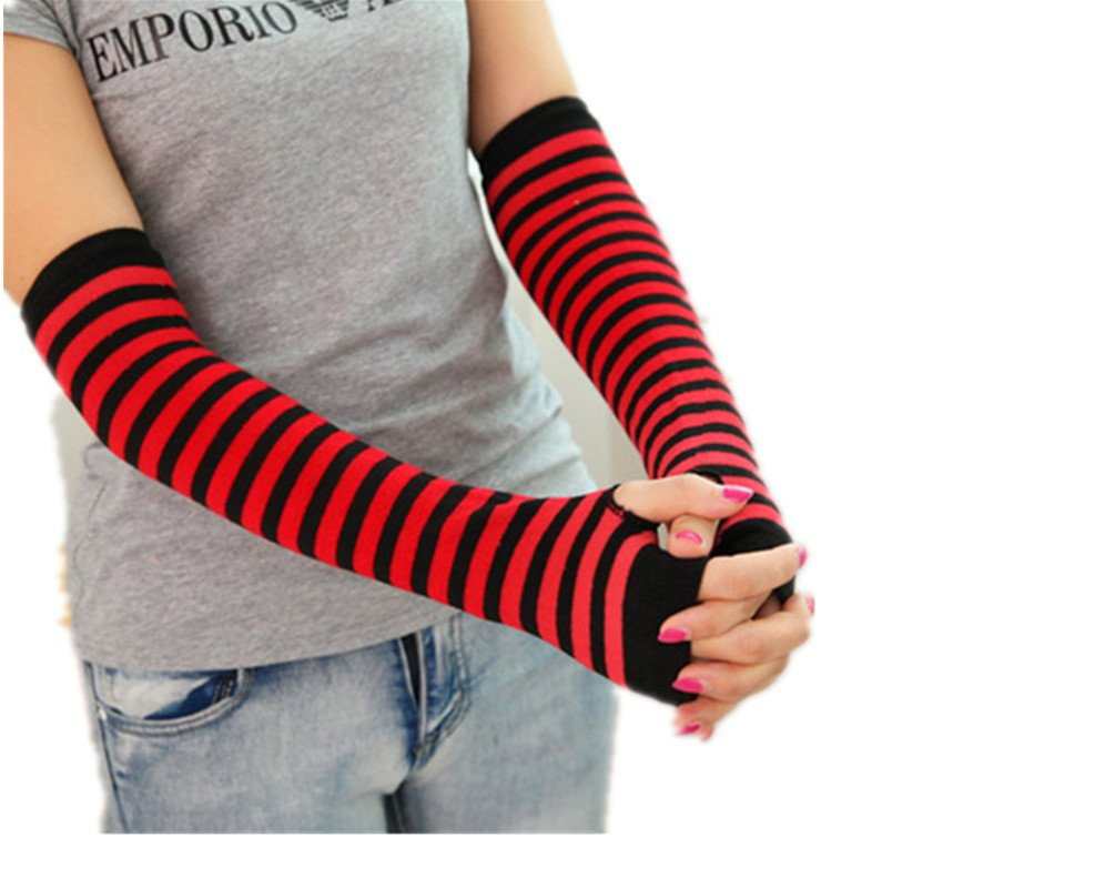 1 Pair of Arm Warmers Fingerless Long Gloves,Stripe shopinmall