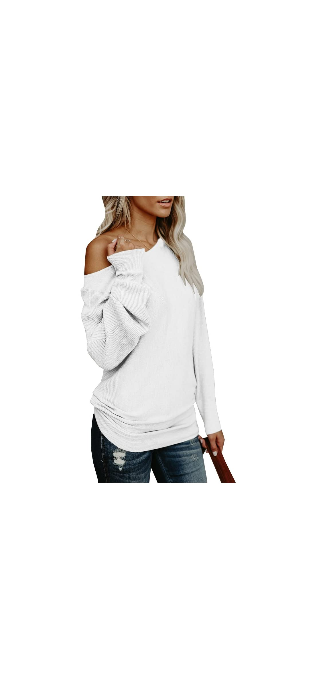 Womens Off The Shoulder Sweater Oversized Knit Long Sleeve