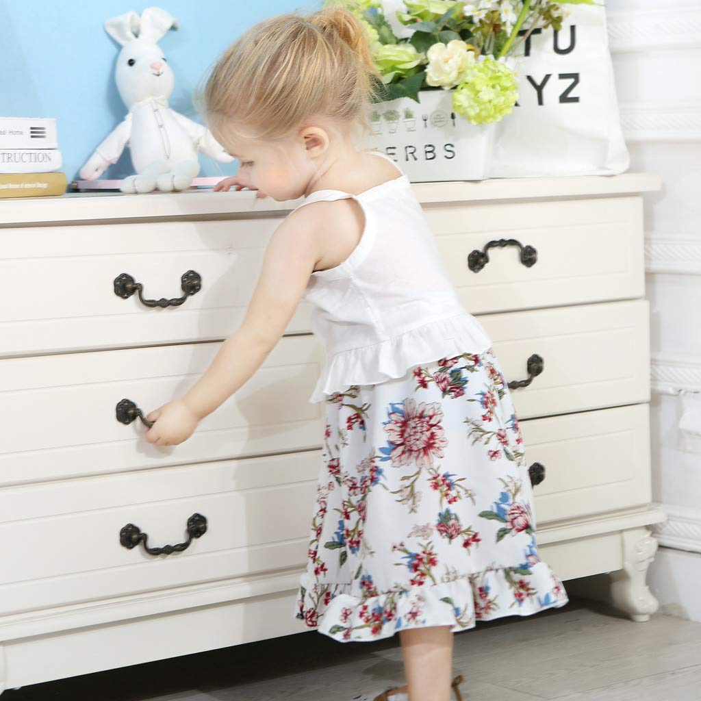 2pcs Baby Girl Dress Set, Toddler Kids Sleeveless Ruffles Vest Tops + Floral Print Skirt Clothes Outfits (18-24 Months, White) by Hopwin Baby girls Suits (Image #7)
