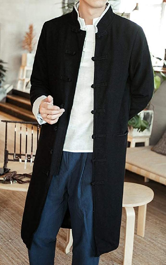 Zimaes-Men Martial Arts Thigh-Length Coat Jacket with Pockets