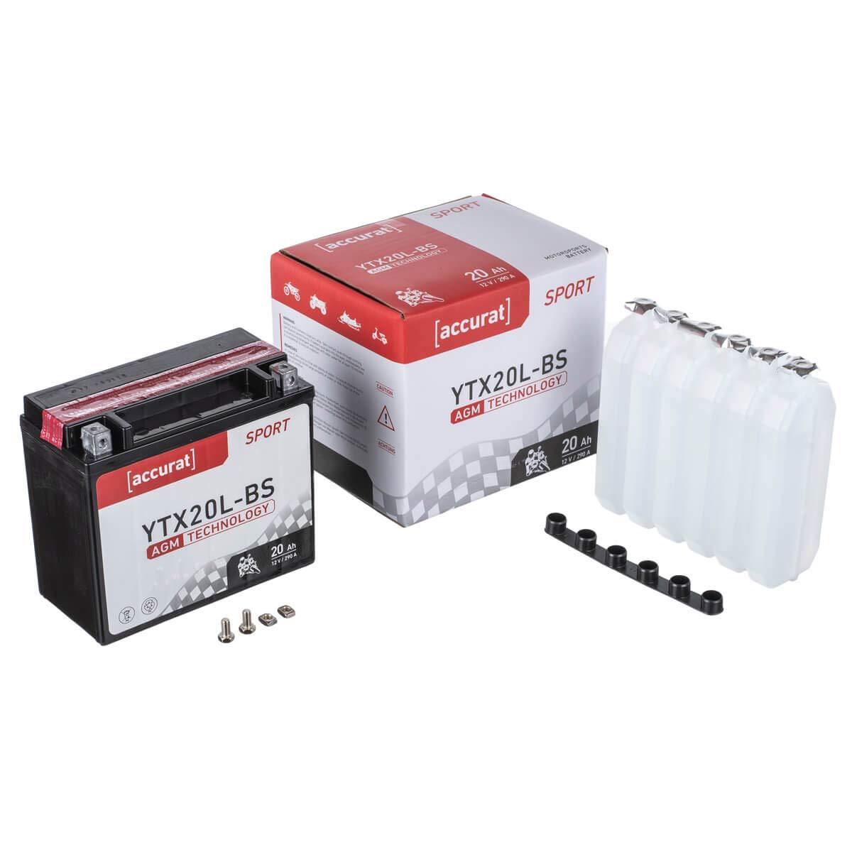 S/äurepack robust auslaufsicher /& wartungsfrei Accurat Motorradbatterie YTX9-BS 9Ah 120A 12V AGM-VRLA-Technologie Starterbatterie inkl