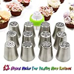 Russian Piping Tips Set,Feleph Cake Decorating Supplies Kit for C 10 MATERIAL: These Professional icing nozzle tips are made of 100% food grade FDA approved 304 stainless steel. These Tips are Eco-friendly, easy to wash and handle, long lasting and reusable,smooth chrome finish. CREATE IMPRESSIVE CAKES:Let your imagination run wild with this icing nozzles to decorate wedding cakes, cupcakes, cookies and so on. Look at photos or videos that inspire you to action, just follow it to have some fun on your dessert with this set. EASY TO USE AND CLEAN: Just a little pressure on the pastry bag, you can create beautiful flowers. Coming with a little clean brush, to make you clean the tips more easier.