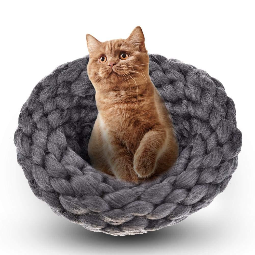 Huang Dog-shop Lana Gato Nest Mano Tejer Gato Cama Pet Saco de Dormir Caliente de Gato Cueva Interior Casa Pets Herrlich Suave Mascotas Cama para Gatos, ...