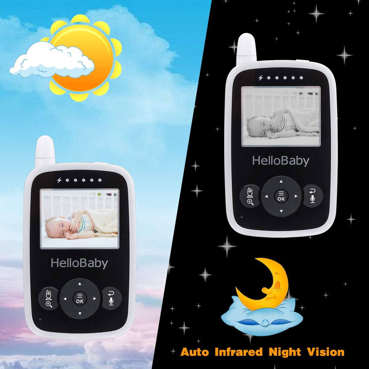 HelloBaby Video Baby Monitor with Camera - Infrared Night Vision, Two-Way Talk Back, Screen, Temperature Detection, Lullabies,Long Range, Private Data Protection and High Capacity Battery by HelloBaby (Image #5)