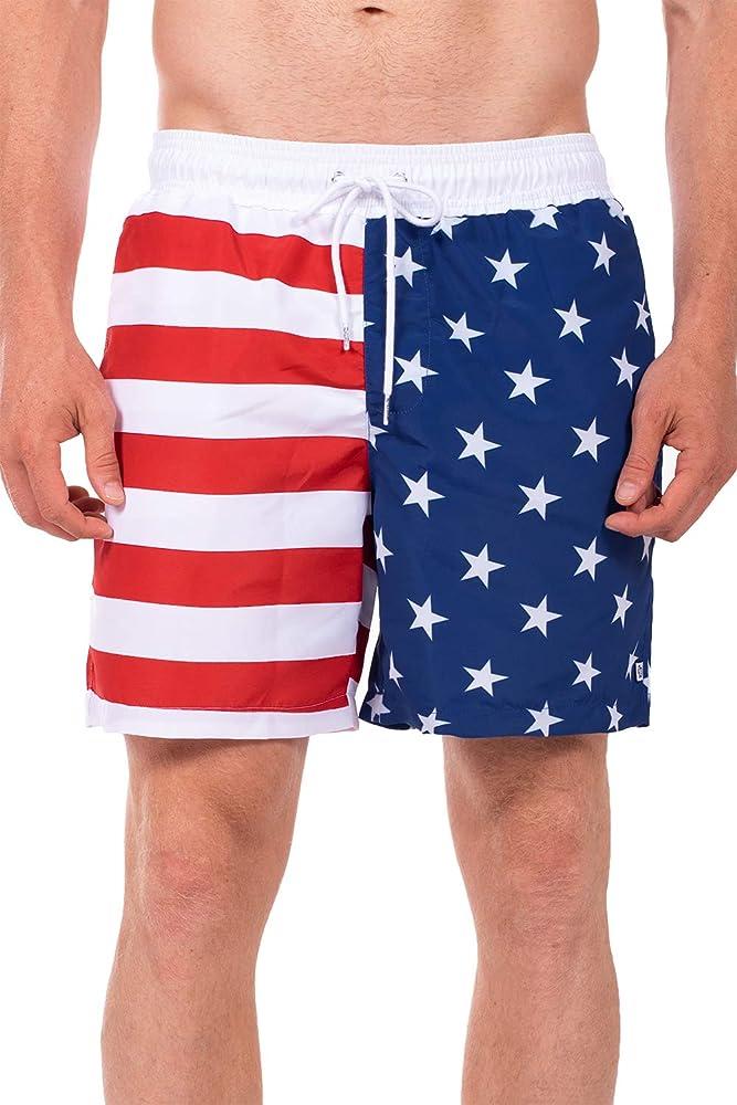 5fe83dba5f7c Tipsy Elves Men's Patriotic USA American Flag Swim Trunks: Small Red ...