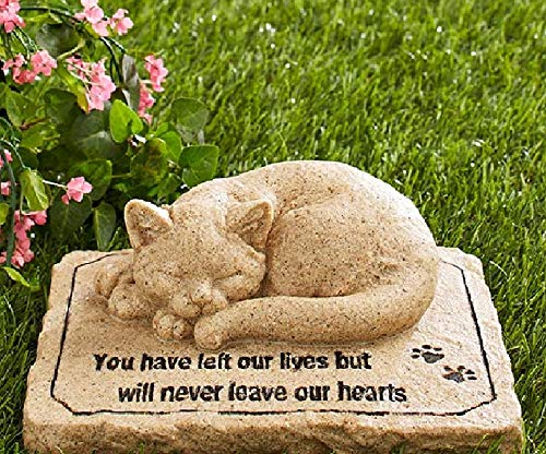 Pet Memorial Stones Cold Cast Ceramic Memorial Garden Backyard Flowers Greenery (Cat)
