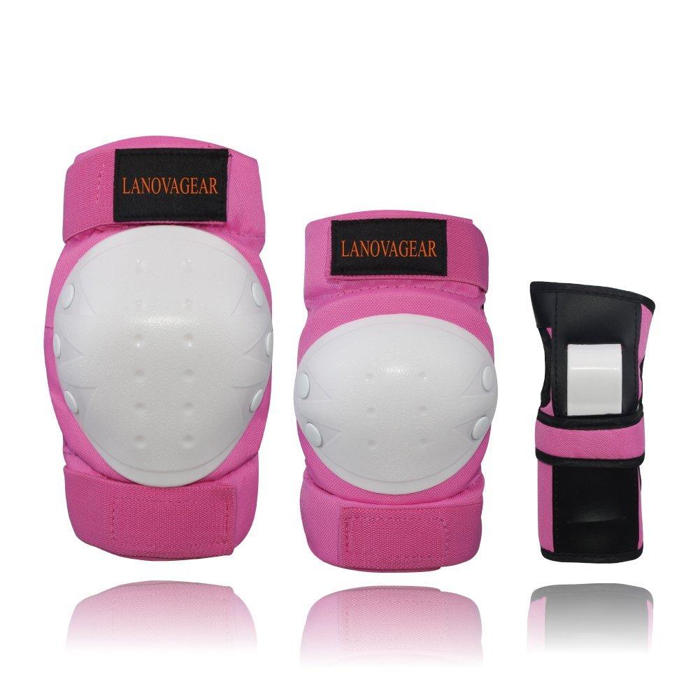 LANOVAGEAR Kids Protective Gear Set, Adjustable Knee Elbow Pads Wrist Guards Bike Cycling Bicycle Riding Rollerblading, Skating, Skateboarding, BMX (Pink, S)