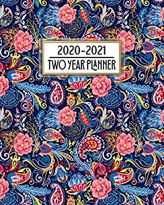 2020 - 2021 Two Year Planner: Beautiful Colorful Blue ...