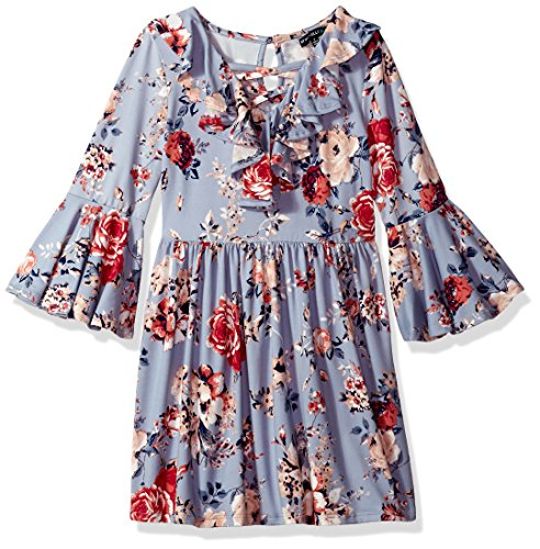My Michelle Girls' Big Dress with Bell Sleeve, Sky Blue, 8 (Michelle My Clothes)