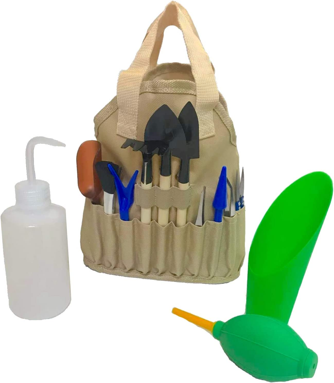 Succulent Kit Organizer Bag Gardening Tool Set Terrarium Supplies Mini Succulent Garden Tool Kit Succulent Bonsai Planter Set Indoor Gardening Fairy Zen Kit for Soil Fertilizer Seeds