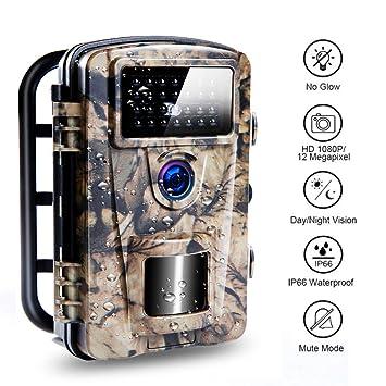 Camara de cazacon 0.2s de velocidad de disparo, IP66 a prueba de agua mejorada, cámara de caza de fauna silvestre incorporada 27pcs con brillo bajo ...