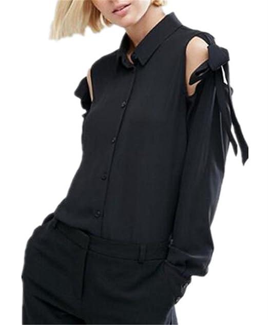 AILIENT Mujer Sexy Camisas Sin Tirantes de Manga Larga En Gasa Hipster Top Blusa Moda Casual