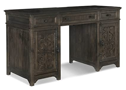 Gentil Office Desk In Distressed Weathered Peppercorn Finish
