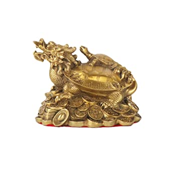 Feng Shui Dore Dragon Tortue Richesse Protection Statue Home Decor