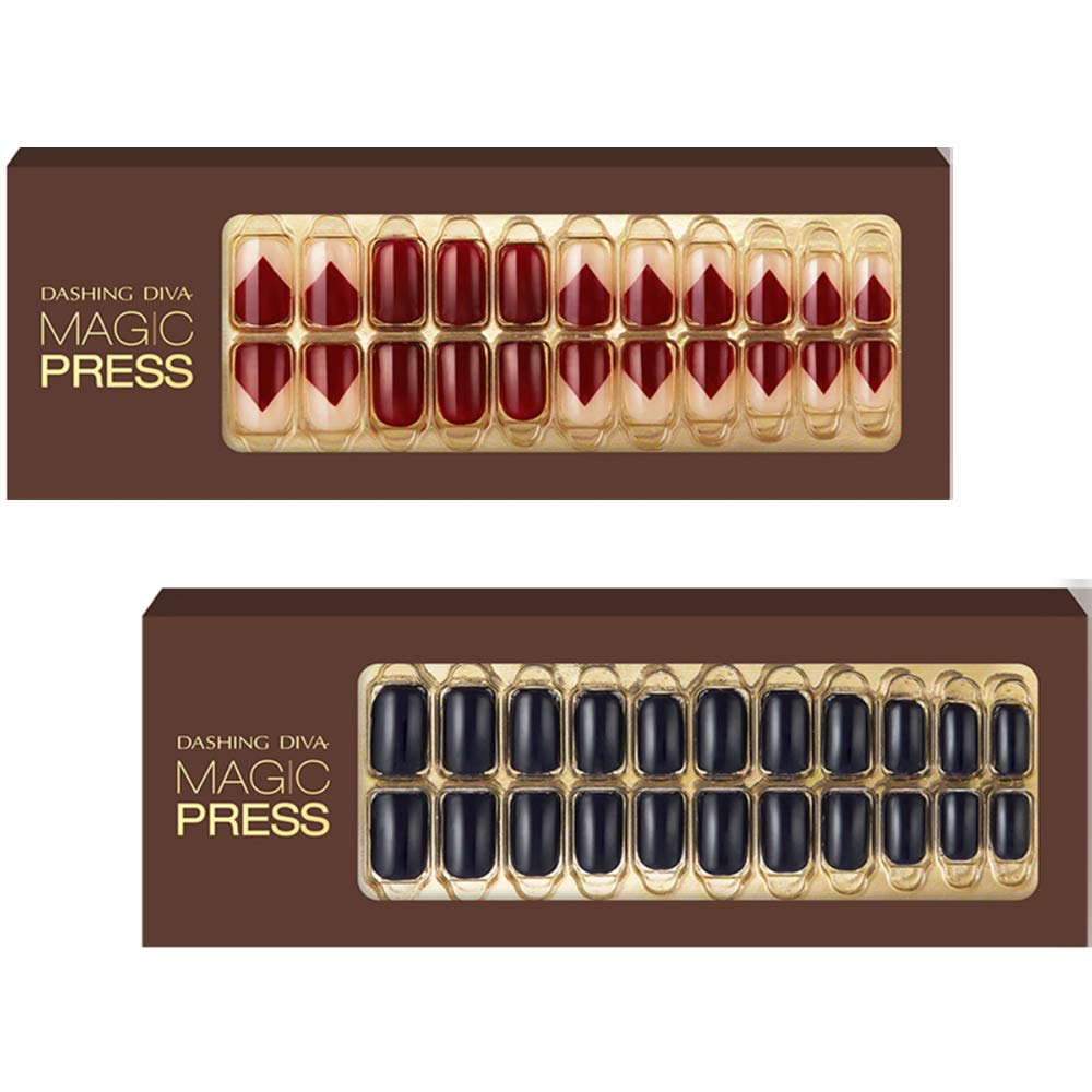 [DASHING DIVA–Nails]Premium Magic Press Super Slim Fit-Beet Red+Cobalt Blue 258/259TUC (2 Different Designs 30strips+30strips in 12 sizes)