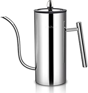 Chihee Oil Can Stainless Steel Oil Dispensers Bottle with Glass Lid Visible Window Drip Free U-shaped Spout Control Oil Volume Daily Kitchen Utensils Gadgets Oil Cruet