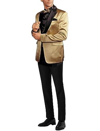 YYI Hombre Traje Formal para Hombre de Oro, 2 Piezas ...