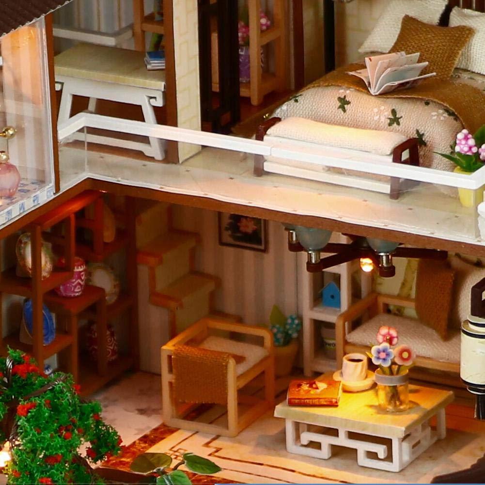 Mit LED-Leuchten,DIY Spielzeug Traumhaus,Miniatur Puppenhaus Kits, 322419 cm Puppenhaus Bausatz tr/äumen Stadt