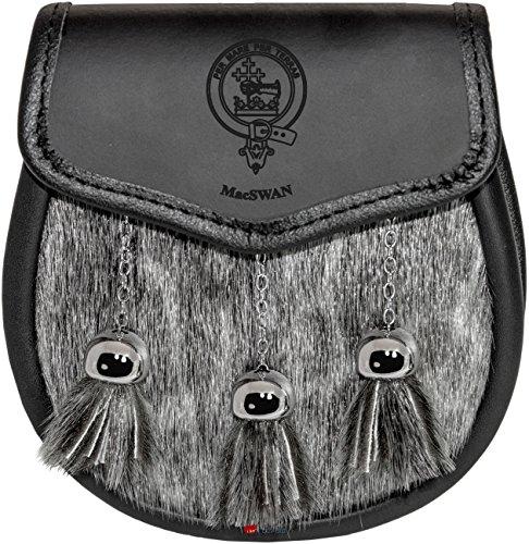 MacSwan Semi Dress Sporran Fur Plain Leather Flap Scottish Clan Crest