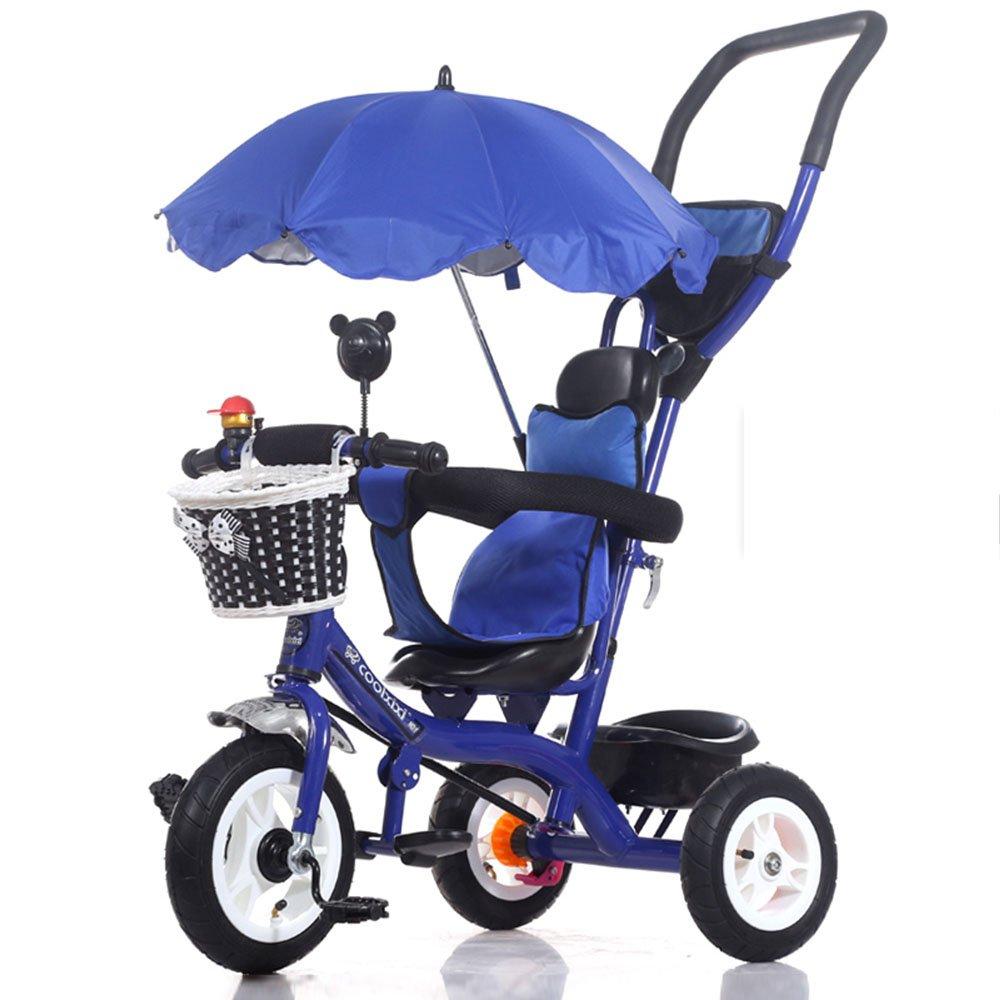 HAIZHEN マウンテンバイク 3 in 1スマートキッズ三輪車3輪マルチポジションチルドレンベビーライドオントライクバイク三輪車自転車アウト 新生児 B07C6RHSM4 Blue2 Blue2