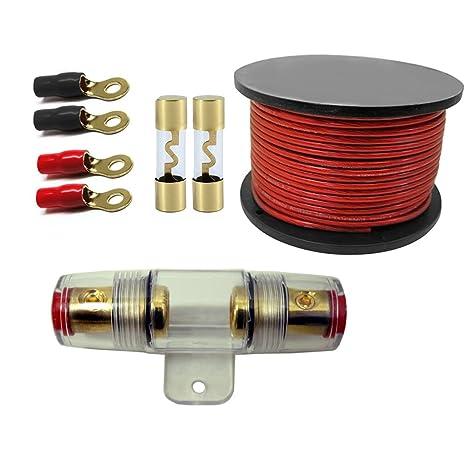 Amazon.com: 100 Amp Inline AGU Fuse Holder Fits 4 8 10 Gauge Wire ...