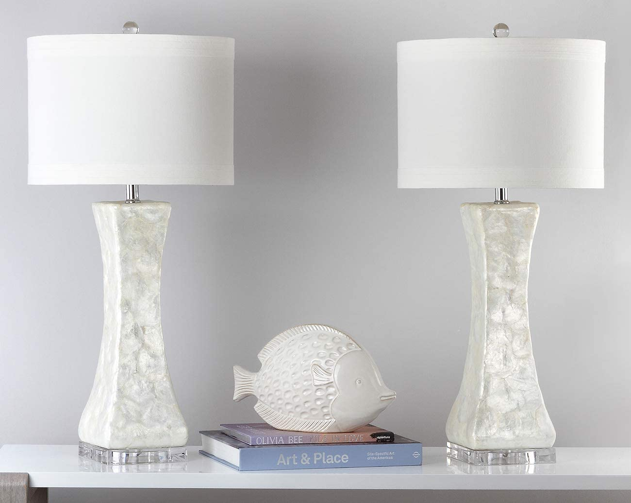 Shelley Concave White Table Lamps