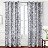 DriftAway Diamond Thermal/Room Darkening Grommet Unlined Window Curtains, Geometric Trellis Pattern, Set of Two Panels, each 52″x84″ (Gray) For Sale