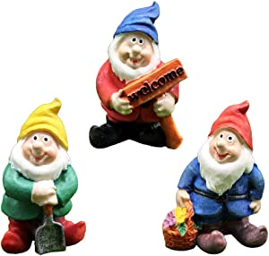 MAOMIA Miniature Gnome Figurines 3 Pcs Fairy Garden Gnome Statues Micro Landscape Decoration Plant Flower Pots Ornaments