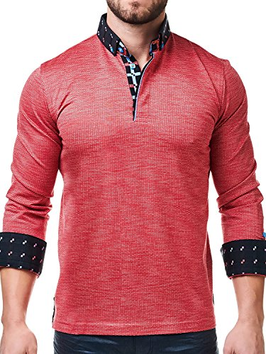 Maceoo Mens Designer Polo - Stylish & Trendy Sport Shirts - Red Orange - Tailored - Shipping Cost Usps To Australia