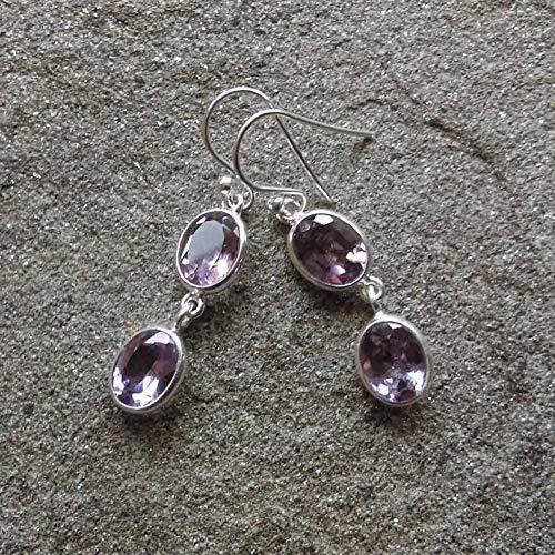 Amethyst Solid 925 Sterling Silver Drop Dangle Earrings