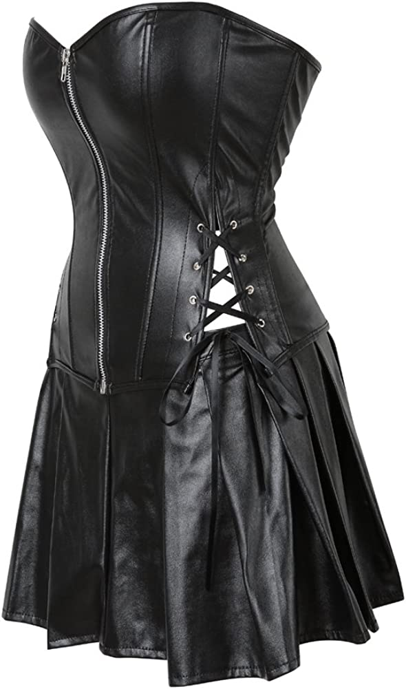 LFFW Punk Rock Embroidered Boned Corset with Straps for Women