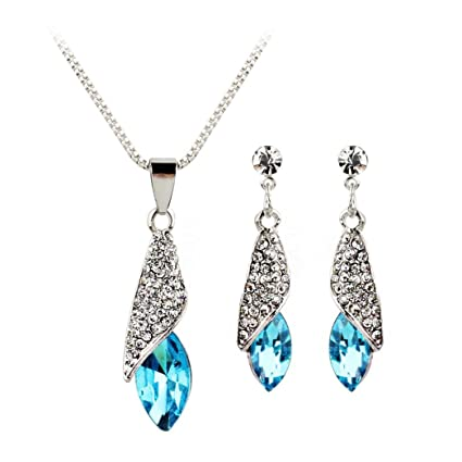 Jewelry & Watches Silver Plated Necklace With Blue And Diamante Pendant With Matching Earrings