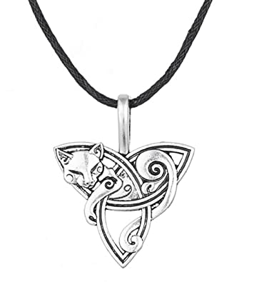 Fashion smart symbol fox triquetra pendant necklace jewelry gift for fashion smart symbol fox triquetra pendant necklace jewelry gift for menwomen mozeypictures Image collections