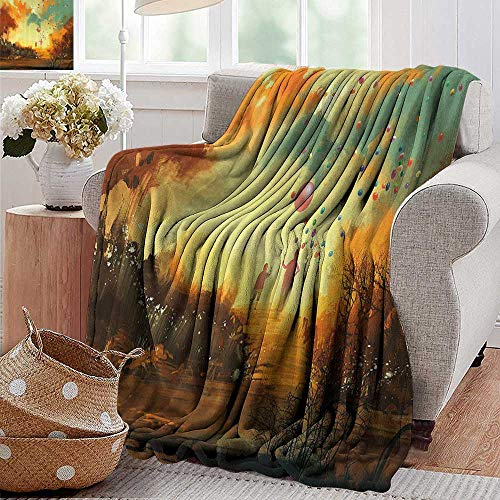 Arden Chocolate - Camping Blanket,Fantasy,Silhouette of Little Boy and Wizard with Balloons Forest Print,Marigold Yellow Chocolate Teal,Flannel Blankets Made with Plush Microfiber 30