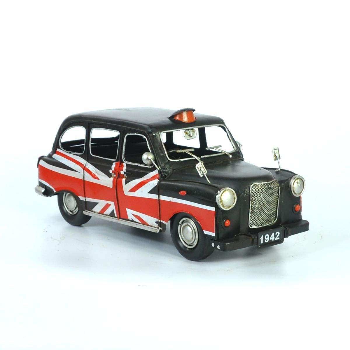 VJUKUB Modelo Negro Antiguo del Taxi de Austin, 1966 hojalata Hecho a Mano Arte Retro del Hierro hogar del Coche decoración de la decoración del arreglo de la fotografía los apoyos 32  13  12.5 cm