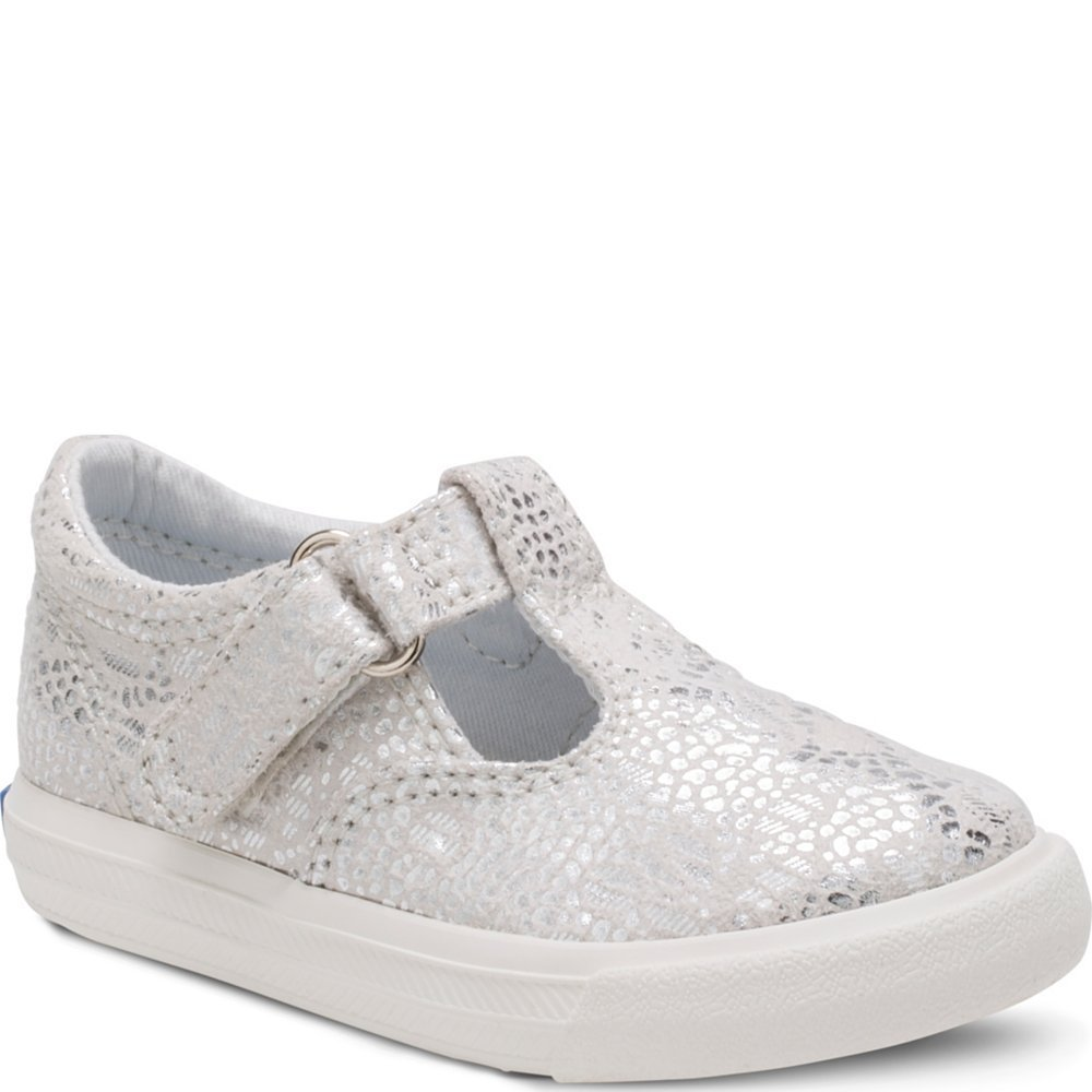 Keds Girls' Daphne Sneaker, Silver Print, 8 M US Toddler