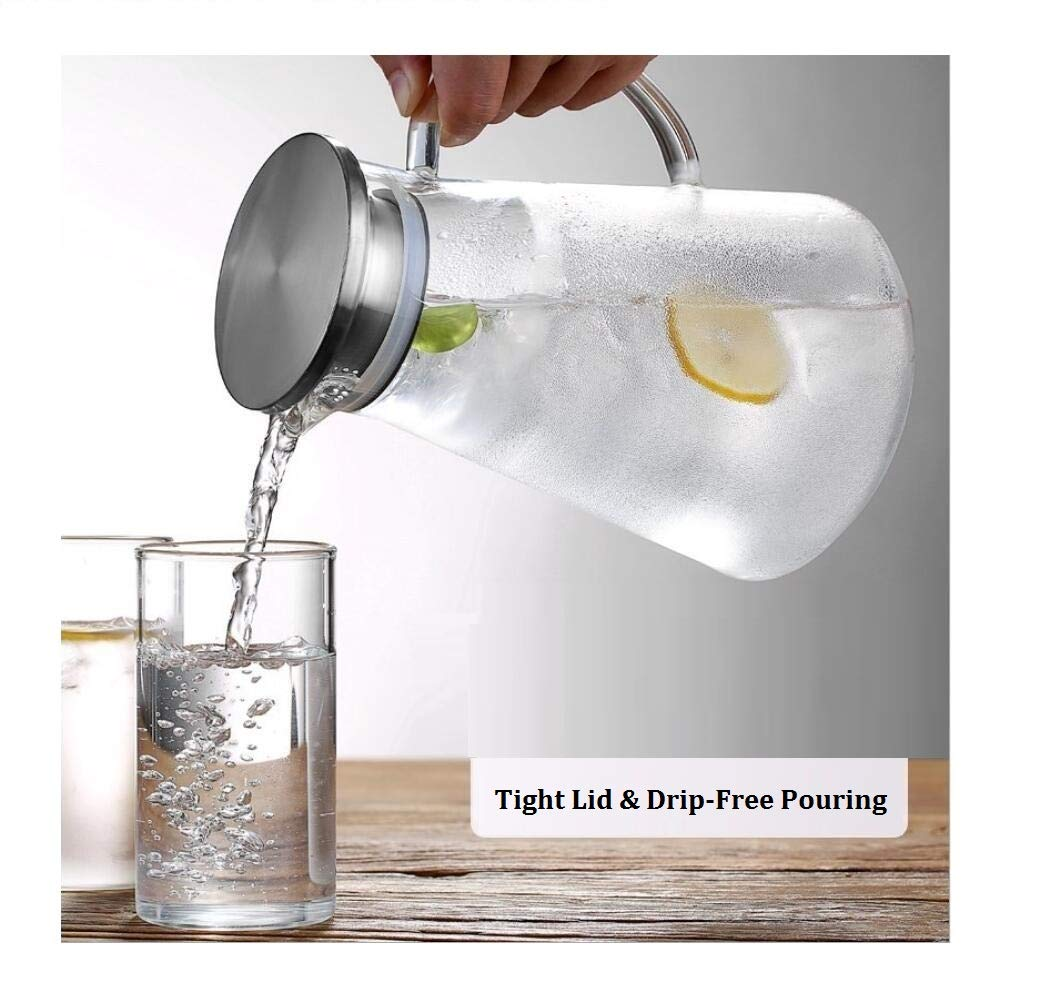 SmartHom 68 Ounces Glass Pitcher, Drip-Free Water Pitcher With Tight Lid and Pretty Brush by SmartHom (Image #2)