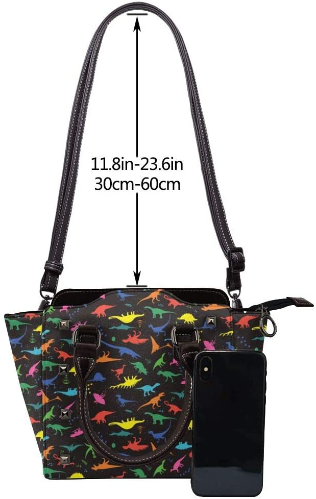 GHUJAOOHIJIO Womens Cute Dinosa Rivet PU Leather Tote Bag Shoulder Bag Purse
