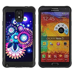 Hybrid Anti-Shock Defend For Case HTC One M7 Cover Colorful Abstract Neon Flowers