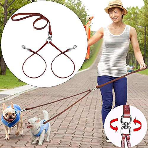 PET ARTIST No Tangle Dog Leash Coupler Double Leather Leash-2 Way Tangle Free Dog Splitter-Brown 4.2 feet Length-Fit Puppy Medium&Small Dog Daily Walking for Two (Leather Dog Coupler)