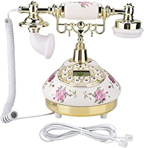 Tosuny Corded Phone, Desk Phone MS-9101 Vintage Retro Imitation Antique Telephone with Caller ID System Wired Telephone for Home Office Use