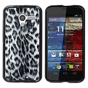 KOKO CASE / Motorola Moto X 1 1st GEN I XT1058 XT1053 XT1052 XT1056 XT1060 XT1055 / patrón de leopardo pantera estilo peludo gris / Delgado Negro Plástico caso cubierta Shell Armor Funda Case Cover