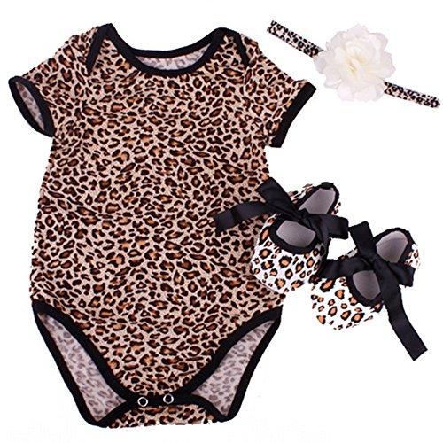 (NPK collection Reborn Baby Doll Leopard Romper Clothes Set for 20-22 Inch Reborns Newborn Girl Dolls Bodysuit Toy)